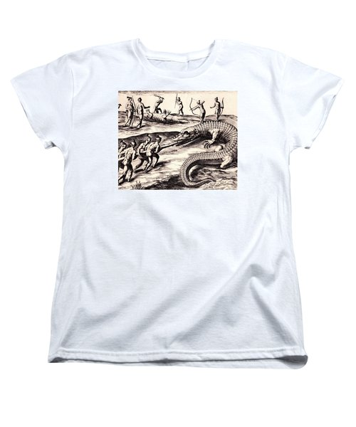 Women's T-Shirt (Standard Cut) featuring the drawing Their Manner Of Killynge Crocodrilles by Peter Gumaer Ogden
