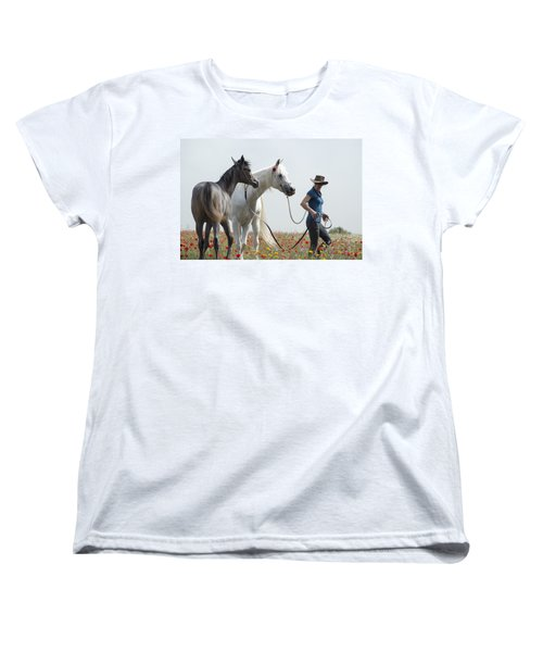 Three At The Poppies' Field... 1 Women's T-Shirt (Standard Cut) by Dubi Roman