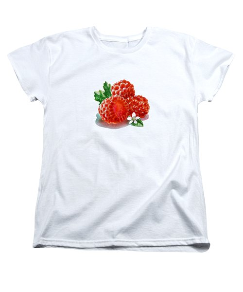 Women's T-Shirt (Standard Cut) featuring the painting Three Happy Raspberries by Irina Sztukowski