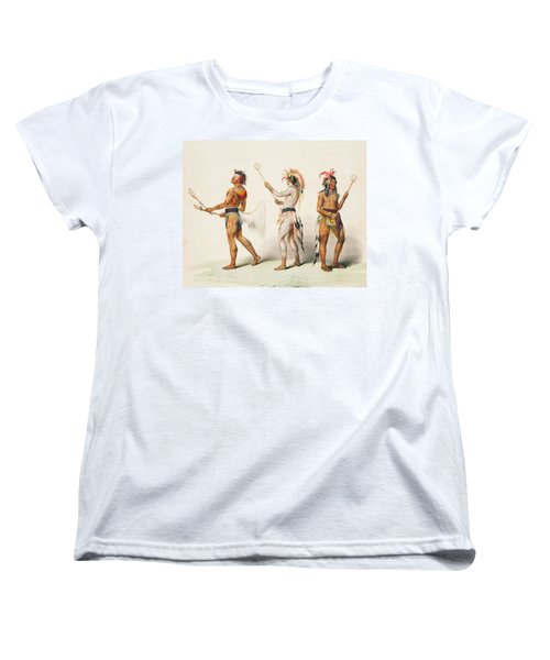 Three Indians Playing Lacrosse Women's T-Shirt (Standard Cut) by Unknown