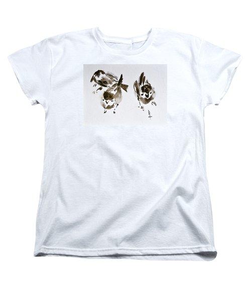 Three Little Birds Perch By My Doorstep Women's T-Shirt (Standard Cut) by Beverley Harper Tinsley