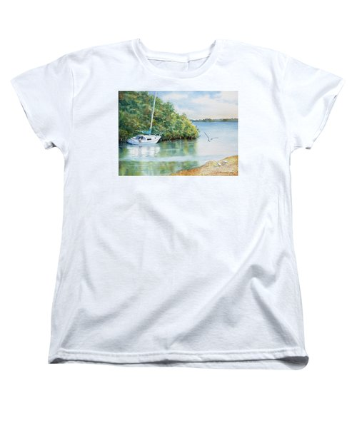 Women's T-Shirt (Standard Cut) featuring the painting Tide's Out by Roger Rockefeller