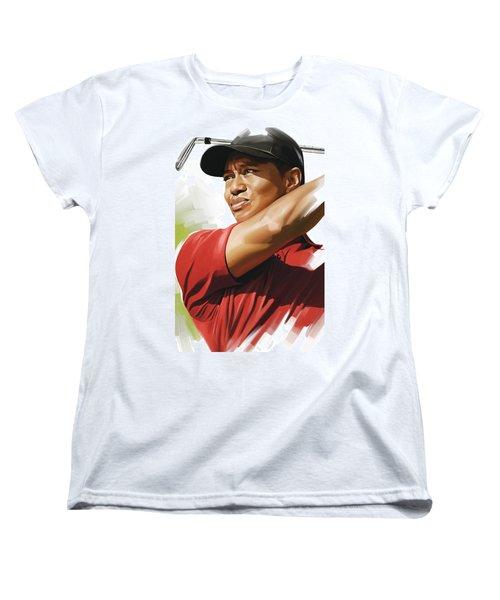 Tiger Woods Artwork Women's T-Shirt (Standard Cut) by Sheraz A