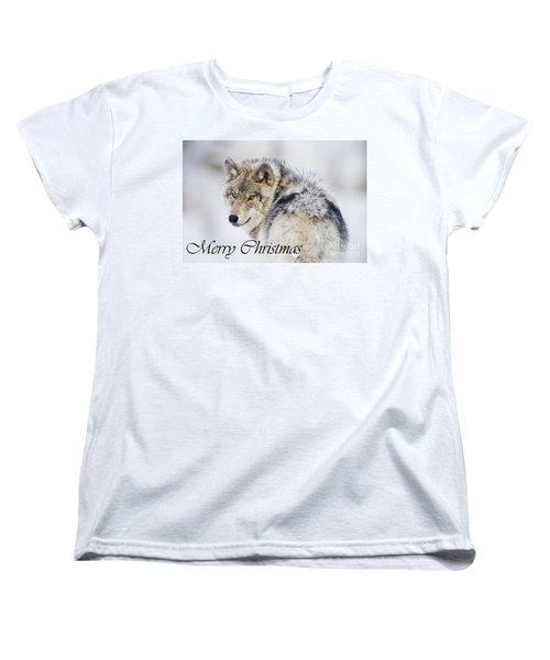 Timber Wolf Christmas Card 2 Women's T-Shirt (Standard Cut) by Michael Cummings