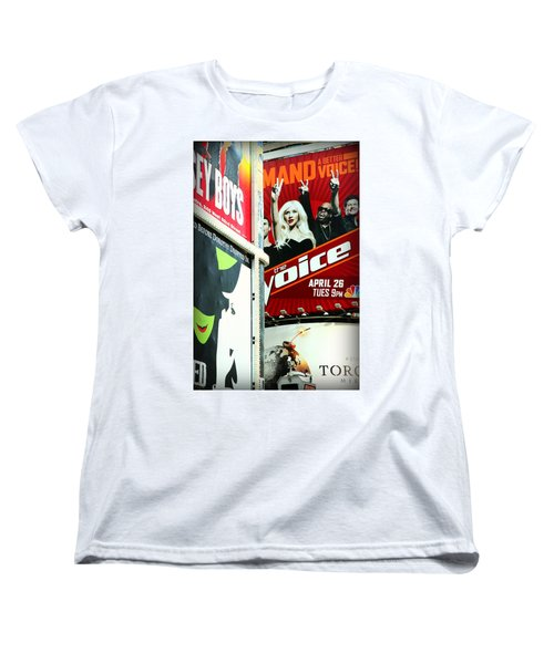 Times Square Billboards Women's T-Shirt (Standard Cut) by Valentino Visentini