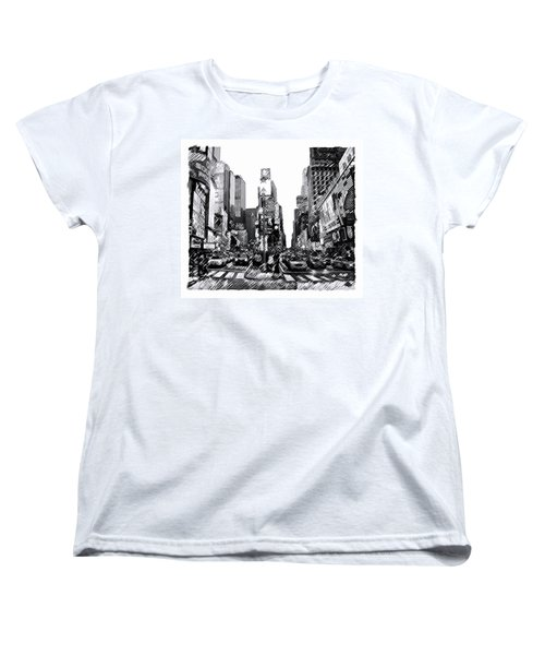 Women's T-Shirt (Standard Cut) featuring the painting Times Square   New York City by Iconic Images Art Gallery David Pucciarelli
