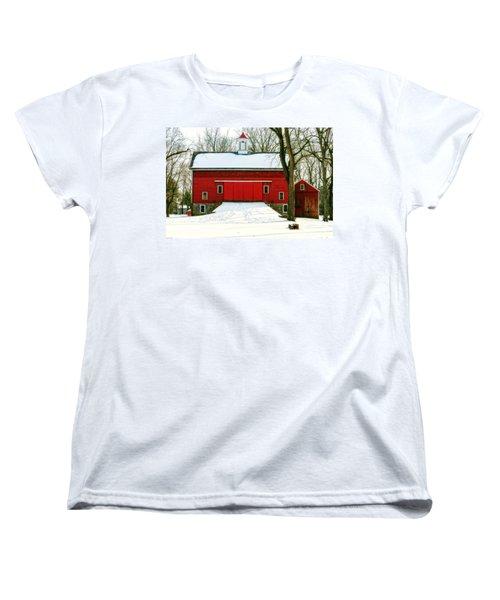 Tinicum Barn In Winter II Women's T-Shirt (Standard Cut) by Debra Fedchin
