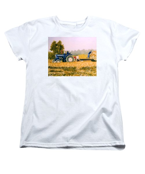 Women's T-Shirt (Standard Cut) featuring the painting Tobacco Farmers by Stacy C Bottoms