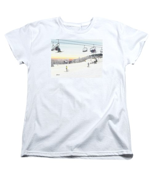 Women's T-Shirt (Standard Cut) featuring the painting Top Of The Mountain At Seven Springs by Albert Puskaric