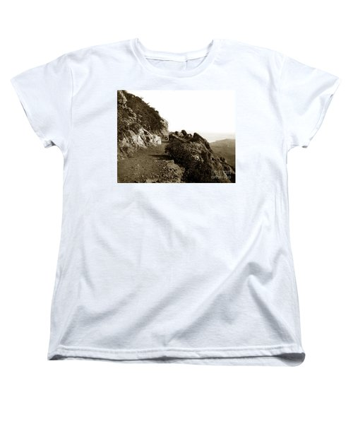 Women's T-Shirt (Standard Cut) featuring the photograph Trail On Mt. Tamalpais Marin Co California Circa 1902  by California Views Mr Pat Hathaway Archives
