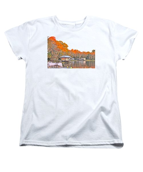 Women's T-Shirt (Standard Cut) featuring the photograph Trees By The Lake by Lorna Maza