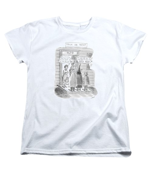 Trick Or Treat 'here Are Some Broccoli Florets - Women's T-Shirt (Standard Cut) by Roz Chast
