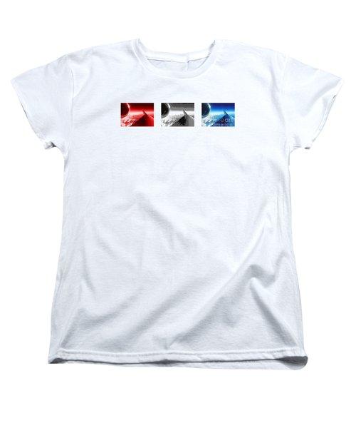 Women's T-Shirt (Standard Cut) featuring the photograph Red White Black An White Blue An White Jet Pop Art Planes. by R Muirhead Art