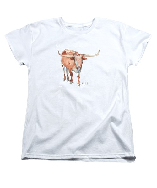 Square Walking Tall Texas Longhorn Watercolor Painting By Kmcelwaine Women's T-Shirt (Standard Cut) by Kathleen McElwaine