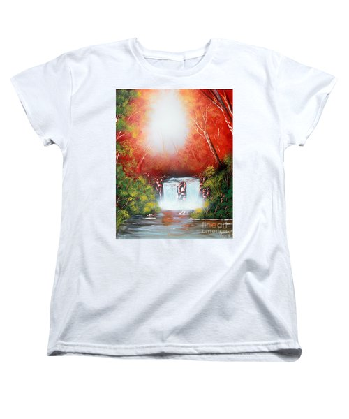 Women's T-Shirt (Standard Cut) featuring the painting Twin Falls  by Greg Moores