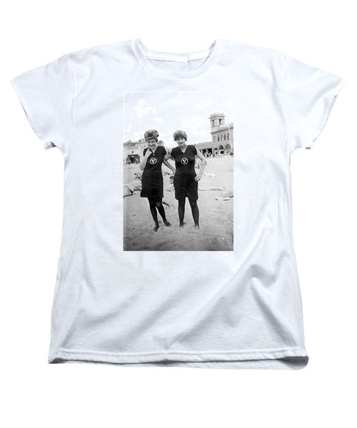 Two Girls At Venice Beach Women's T-Shirt (Standard Cut) by Underwood Archives
