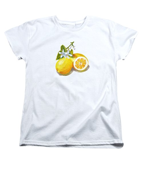 Women's T-Shirt (Standard Cut) featuring the painting Two Happy Lemons by Irina Sztukowski