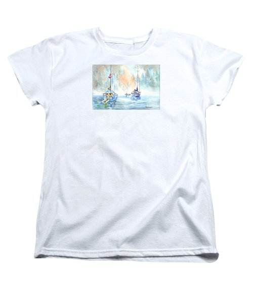 Women's T-Shirt (Standard Cut) featuring the painting Two In The Early Morning Mist by Carol Wisniewski