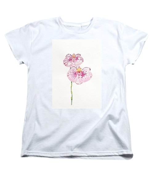 Women's T-Shirt (Standard Cut) featuring the painting Two Orchids by Michele Myers