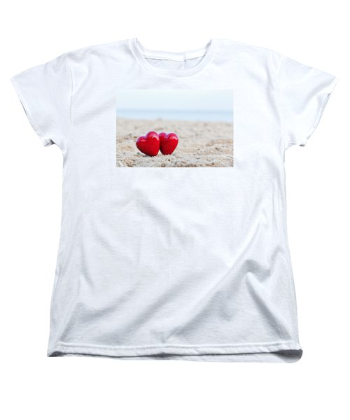 Two Red Hearts On The Beach Symbolizing Love Women's T-Shirt (Standard Cut) by Michal Bednarek
