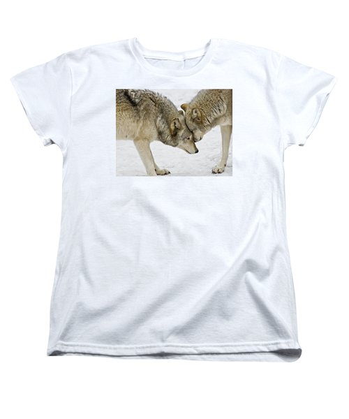 Women's T-Shirt (Standard Cut) featuring the photograph Two Wolves In  A Staredown by Gary Slawsky