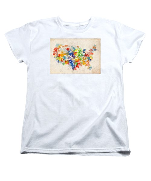 Usa Nfl Map Collage 12 Women's T-Shirt (Standard Cut) by Bekim Art