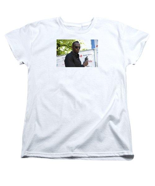 Women's T-Shirt (Standard Cut) featuring the photograph Usain Bolt - The Legend 4 by Teo SITCHET-KANDA