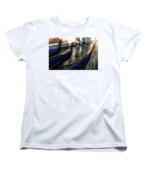 Women's T-Shirt (Standard Cut) featuring the photograph Venetian Gondolas by Georgia Mizuleva