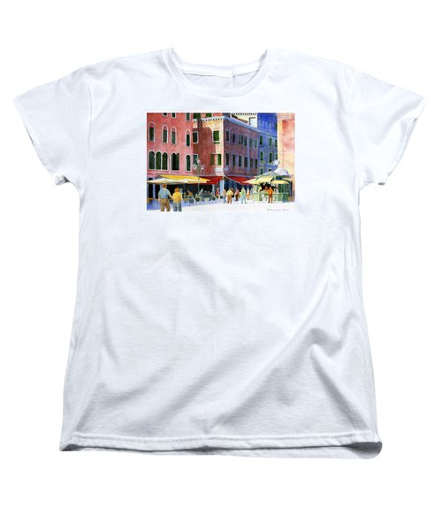 Women's T-Shirt (Standard Cut) featuring the painting Venetian Piazza by Roger Rockefeller