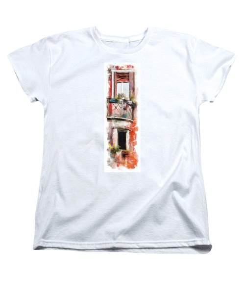 Women's T-Shirt (Standard Cut) featuring the painting Venetian Windows 4 by Greg Collins