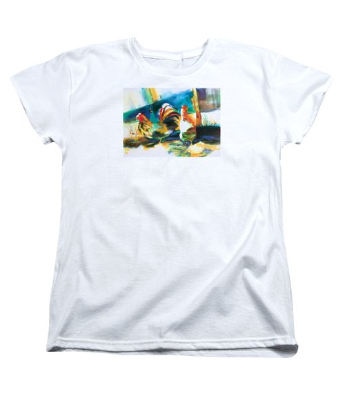 Women's T-Shirt (Standard Cut) featuring the painting Veridian Chicken by Kathy Braud