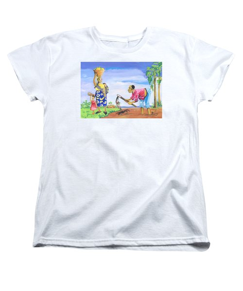 Women's T-Shirt (Standard Cut) featuring the painting Village Life In Cameroon 01 by Emmanuel Baliyanga