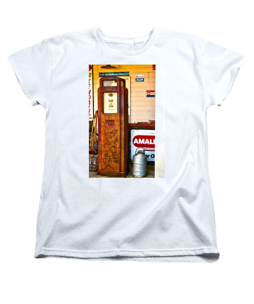 Women's T-Shirt (Standard Cut) featuring the photograph Vintage Bassett Gas Pump   by Lesa Fine