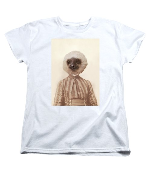 Vintage Sloth Girl Portrait Women's T-Shirt (Standard Cut) by Brooke T Ryan