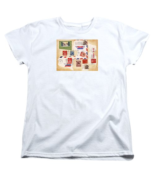 Women's T-Shirt (Standard Cut) featuring the photograph Vintage Stamps On Old Postcard by Vizual Studio