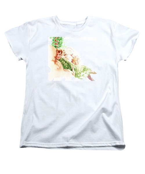 Women's T-Shirt (Standard Cut) featuring the painting Vintage Study Lilian Of James Tissot by Irina Sztukowski