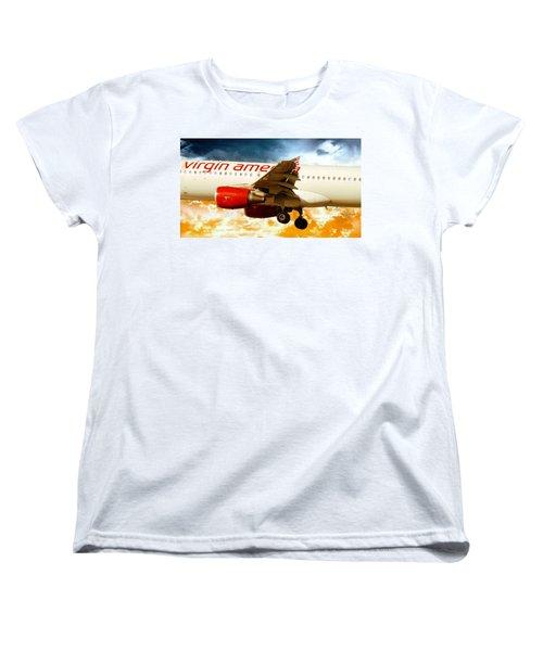 Airline Women's T-Shirt (Standard Cut) featuring the photograph Virgin America A320 by Aaron Berg