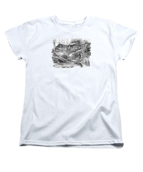 Women's T-Shirt (Standard Cut) featuring the drawing Virginia Kendall Ledges - Cuyahoga Valley National Park by Kelli Swan