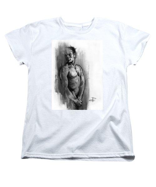 Women's T-Shirt (Standard Cut) featuring the drawing Waiting by Paul Davenport