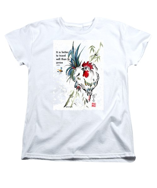 Women's T-Shirt (Standard Cut) featuring the painting Walkabout With Buddha Quote I by Bill Searle