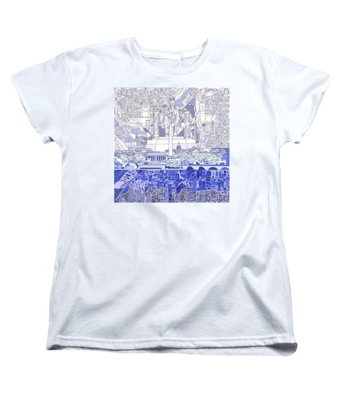 Washington Dc Skyline Abstract 3 Women's T-Shirt (Standard Cut) by Bekim Art