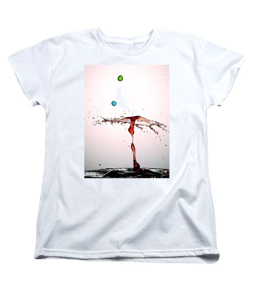 Water Droplets Collision Liquid Art 11 Women's T-Shirt (Standard Cut) by Paul Ge