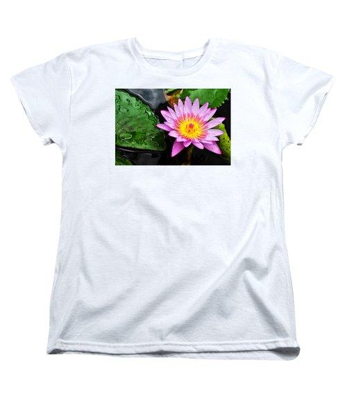 Water Lily Women's T-Shirt (Standard Cut) by Denise Bird
