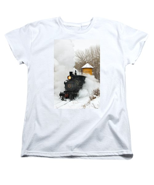 Water Tower Behind The Steam Women's T-Shirt (Standard Cut) by Ken Smith