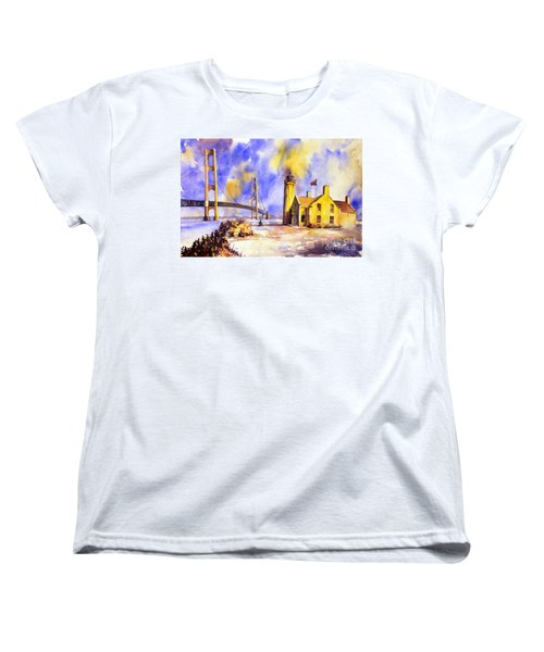 Watercolor Painting Of Ligthouse On Mackinaw Island- Michigan Women's T-Shirt (Standard Cut) by Ryan Fox