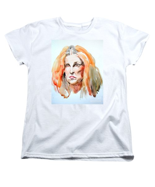 Women's T-Shirt (Standard Cut) featuring the painting Watercolor Portrait Of A Mad Redhead by Greta Corens