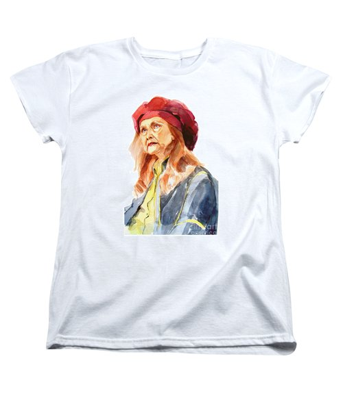 Women's T-Shirt (Standard Cut) featuring the painting Watercolor Portrait Of An Old Lady by Greta Corens