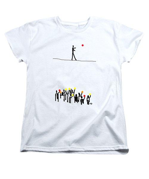 Women's T-Shirt (Standard Cut) featuring the digital art We Believe In Circles  by Sladjana Lazarevic