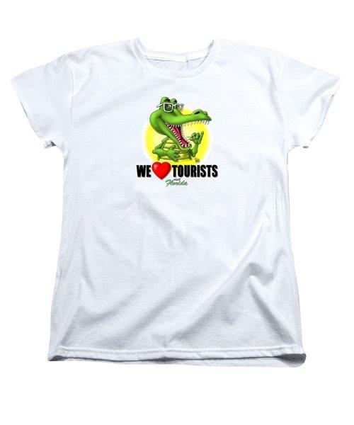 We Love Tourists Gator Women's T-Shirt (Standard Cut) by Scott Ross
