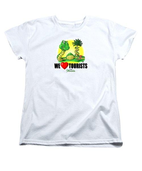 We Love Tourists Snake Women's T-Shirt (Standard Cut) by Scott Ross